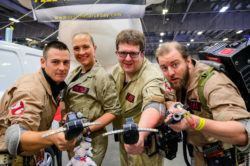 Four people dresses as the Ghostbuster from the hit film.