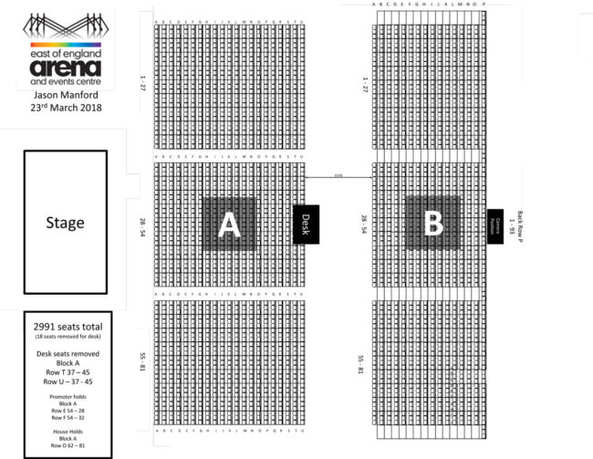 Jason Manford Seating Plan East Of England Arena Peterborough