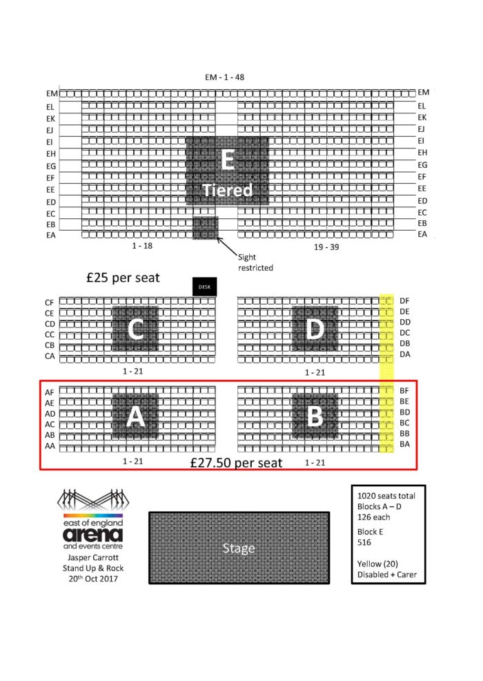 Seating Plan Jasper Carrott - The East of England Arena, Peterborough